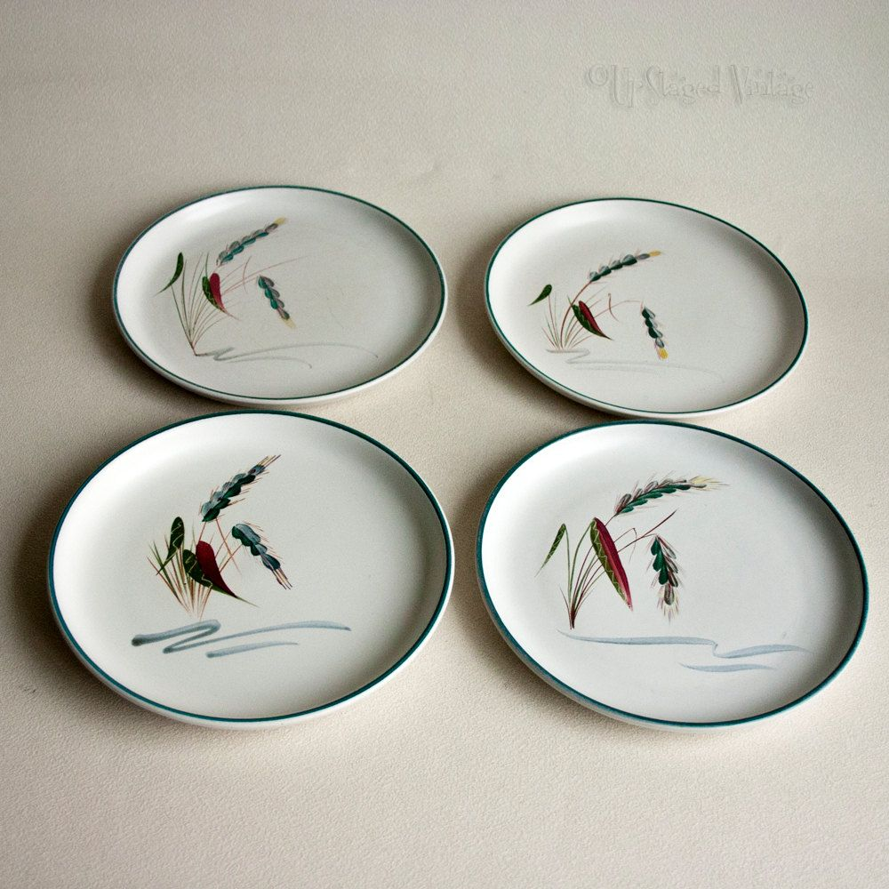 4 x Vintage 1950/60s DENBY Pottery Greenwheat Side/Tea Plates by ...