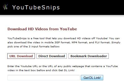 YouTubeSnips is a free tool that lets you download HD videos