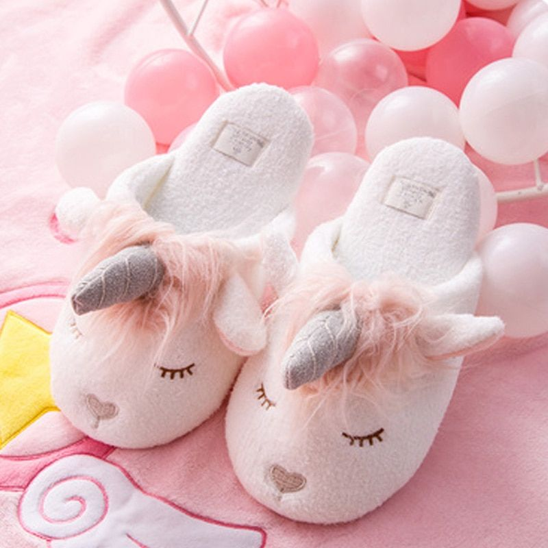 Unicorn Winter Warm Cotton Fur Indoor Slippers Slippers For Girls Slippers Cute Slippers
