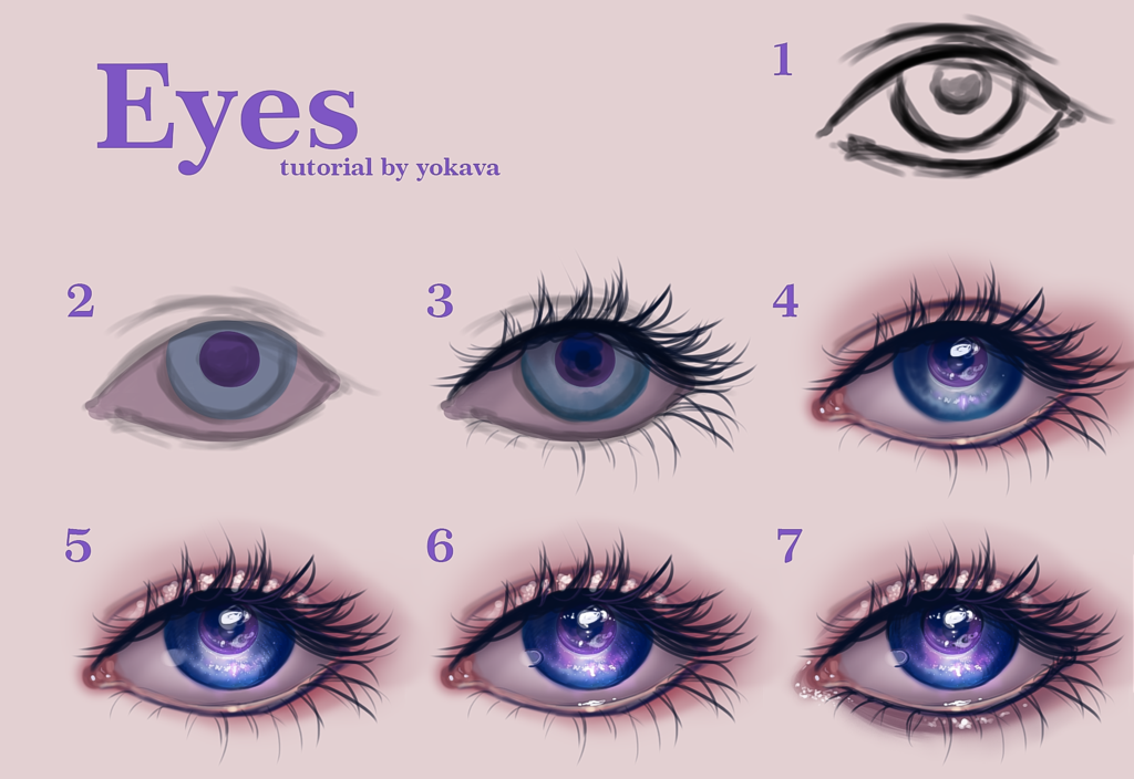 semi realistic eyes tutorial by yokava how to draw pinterest
