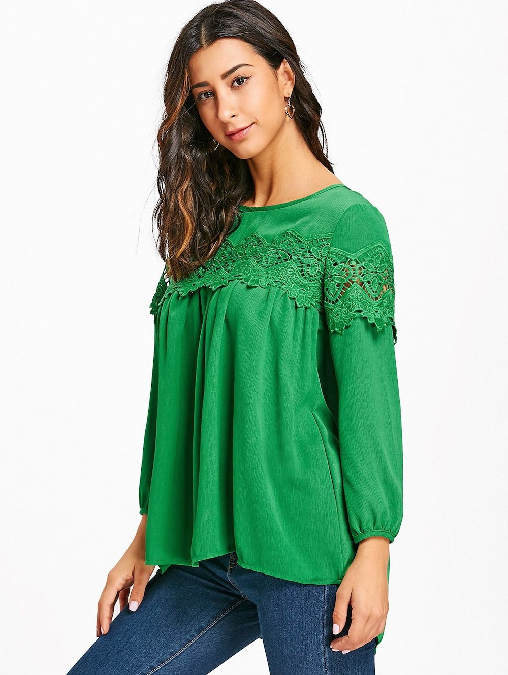 dce6ef5978469c Crochet Lace Insert High Low Blouse - GREEN 2XL