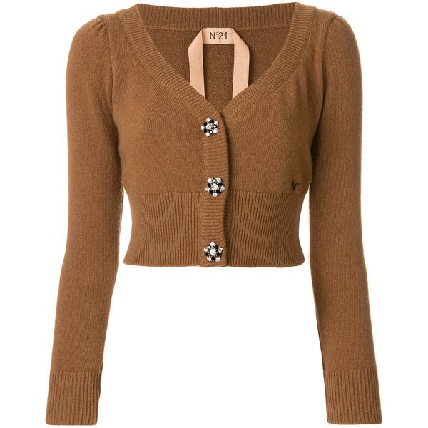 Nº21 cropped embellished button cardigan ($760) ❤ liked on ...