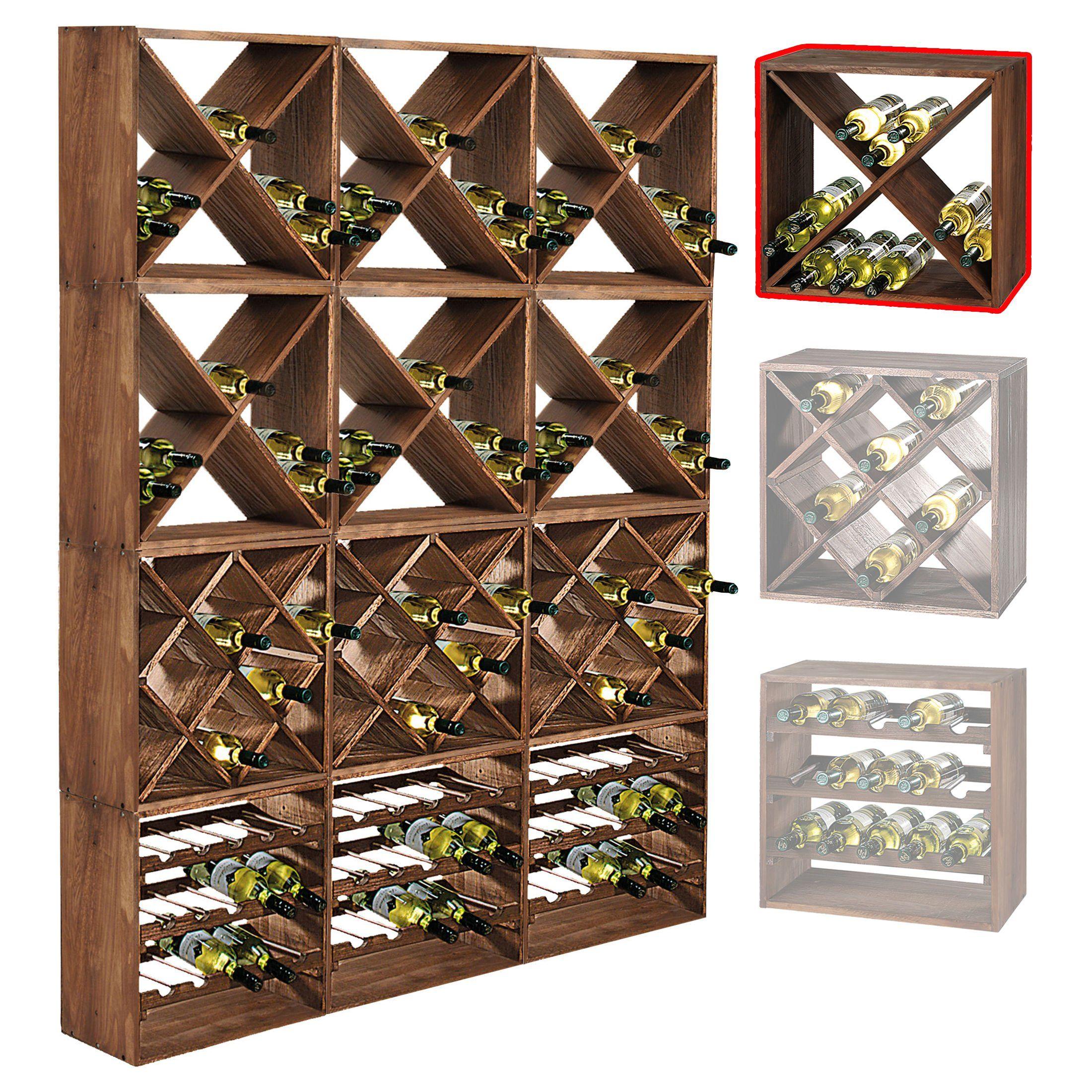 Systeme D Etagere A Vin Cube 50 Tobacco Module 4 Standard H50 X L50 X P25 Cm Amazon Fr Cuisine Maison Avec Images Cave A Vin Rangement Vin