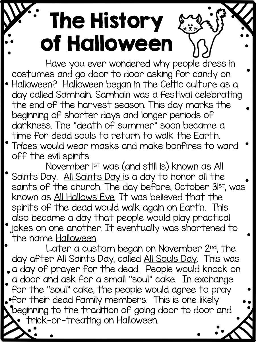 History Of Halloween Halloween Reading Passages Common Core Ela Common Core Activities [ 1200 x 900 Pixel ]