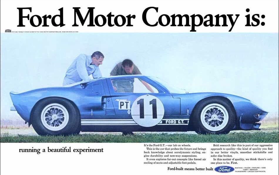 Ford Advert Featuring The Ford Gt40 Race Car Ford Gt Ford Gt40 Ford Racing