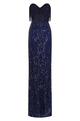 d0a041f394 NAZZ COLLECTION RUNWAY NAVY LUXE SWEETHEART TASSEL FRINGE SEQUIN FISHTAIL  MAXI PROM DRESS