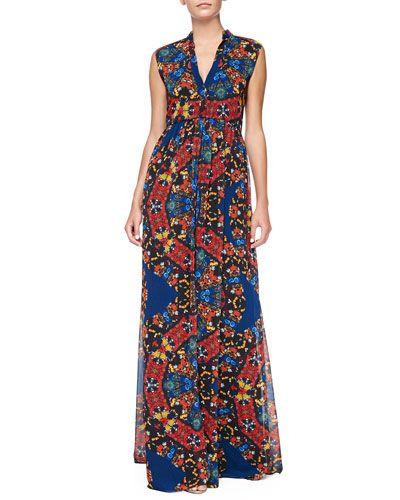 T8KJ9 Alice + Olivia Marianna Printed Button-Front Maxi Dress