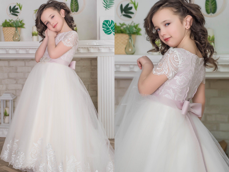 blush pink tutu girl dress First Communion Dress Tutu Flower Girl Dress | Lush flower girl dress Birthday Girl Dress