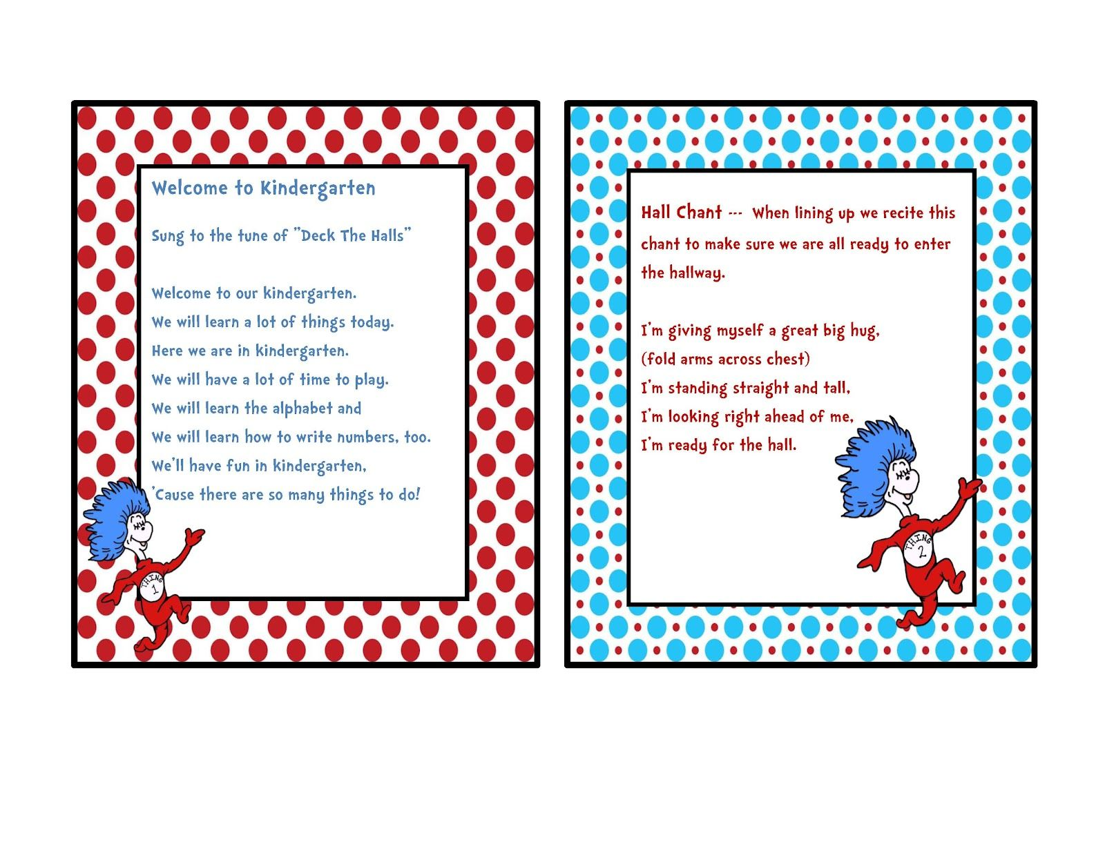 Preschool Printables Dr Seuss Chants And Songs