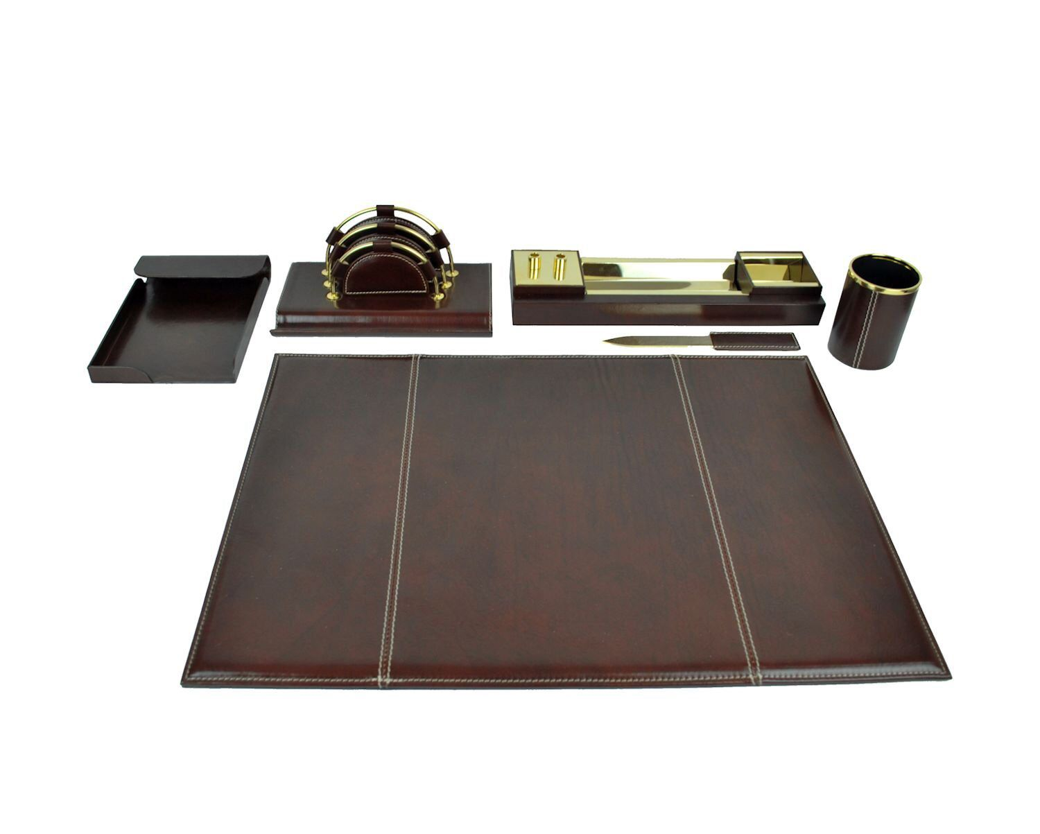Brown Majestic Goods Office Supply Leather Desk Set W940