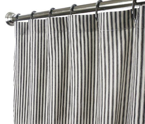 Extra Long Shower Curtain Unique Designer Modern Black And White Striped Ticking 84 Inches Custom Made In USA Fabric Curtains For Bathroom