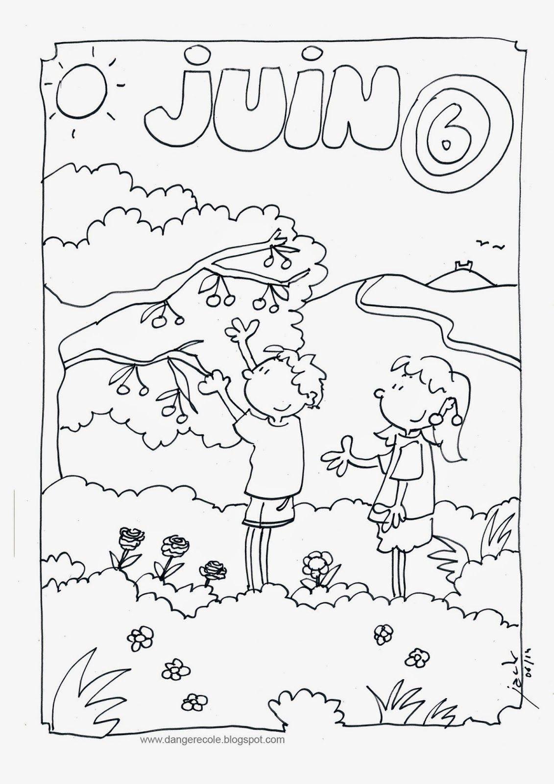 Coloriage de juin insectes coloriage juin danger - Coloriage classe maternelle ...