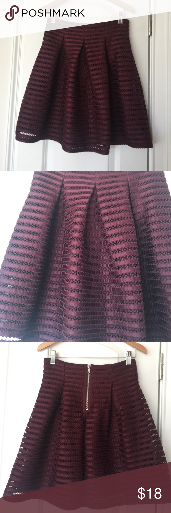 Maroon Skirt Pretty, full skirt in EUC. Mesh/lace detail on outer skirt. Fully lined. Zip closure on back of dress. Pin tucked for a pleated fall to the material. Any questions, please ask! Xhilaration Skirts