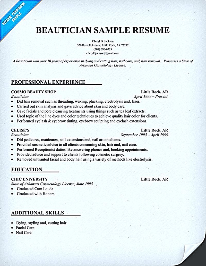 Cosmetologist Resume Is Used By Cosmetologist To Get Applied Or Employed As A Cosmetologist Resume Examples Resume Objective Sample Resume Objective Examples