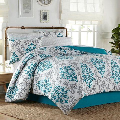 Carina 6 8 Piece Complete Comforter Set In Turquoise Comforter Sets Bedroom Turquoise Bed Comforters