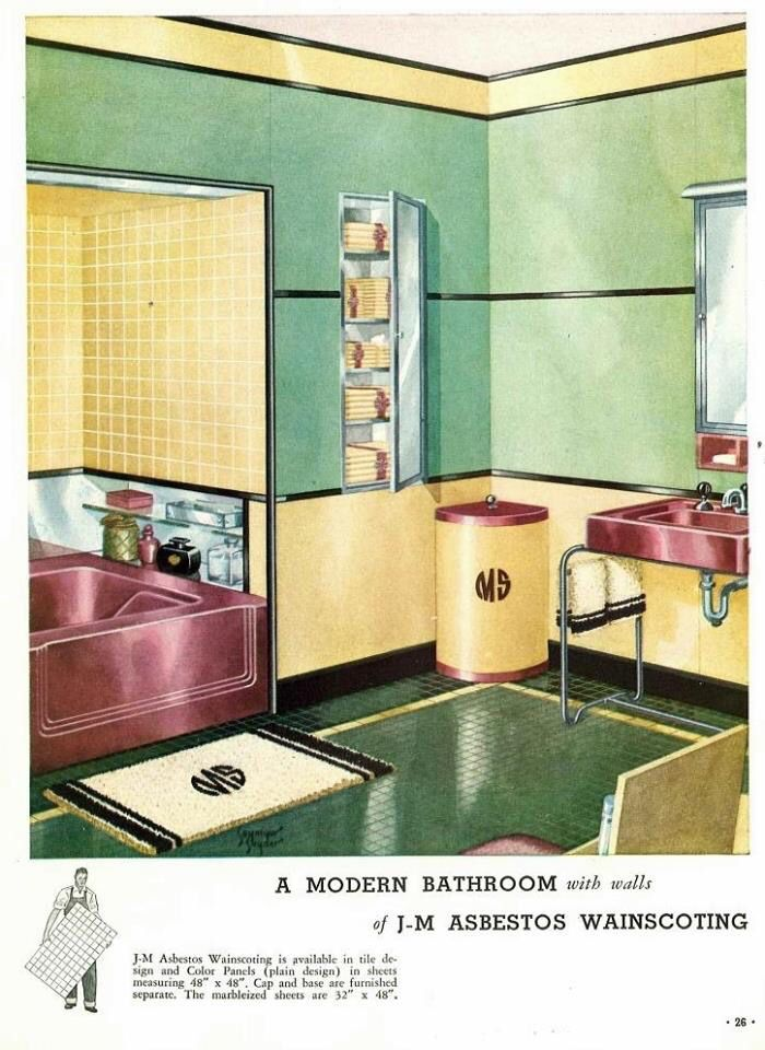 Asbestos Wainscoting Retro Interior Design Vintage Bathrooms Retro Interior