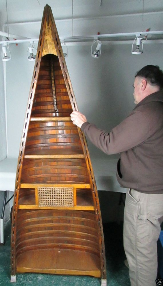 Repurposed Salk Indian Chestnut Canoe Book Shelves Dispaly Case