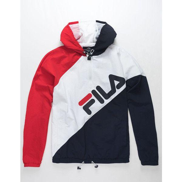 47768911a2eeb Fila Harrison Half Zip Windbreaker Jacket ($85) ❤ liked on Polyvore  featuring men's fashion, men's clothing, men's activewear, men's activewear  jackets and ...
