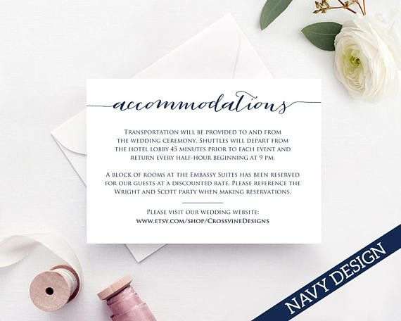 Accommodation Card Insert Wedding Information Template