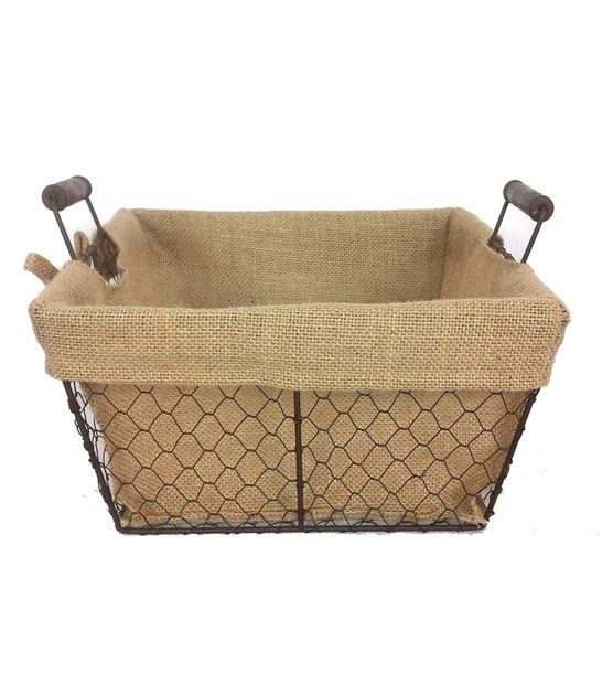 Shop Organizing Essentials 12x12 Wire Basket With Burlap Liner U0026 Baskets U0026  Basket Accessories At Joann.com