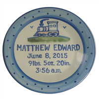 New train birth announcement plate from hadley pottery made and shop for hadley personalized birth plates stoneware plate for babys birth hand painted pottery with childs name date and time of birth weight negle Choice Image