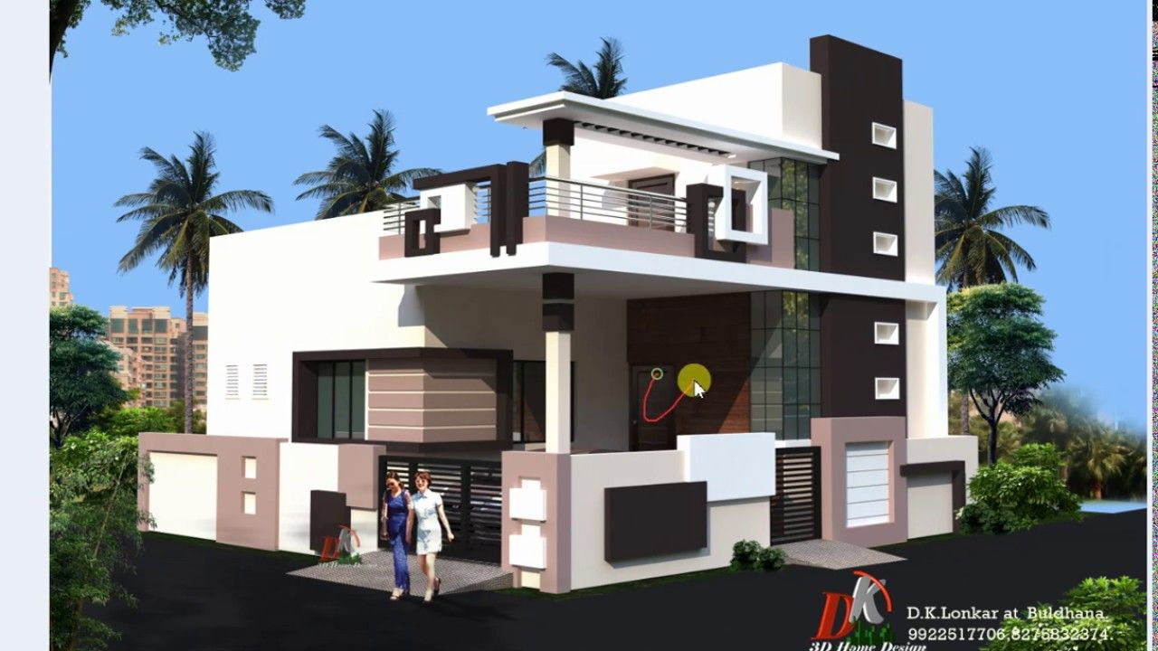 35x35 Ft Corner House Front Design House Design Duplex House Design Small House Elevation Design