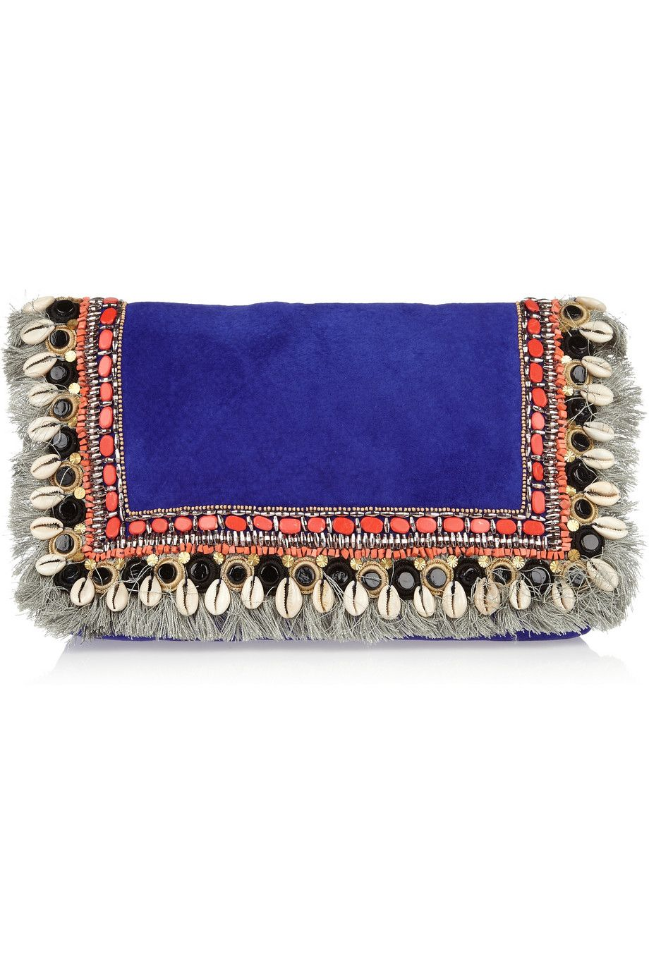 Matthew Williamson - Embellished fringed suede clutch
