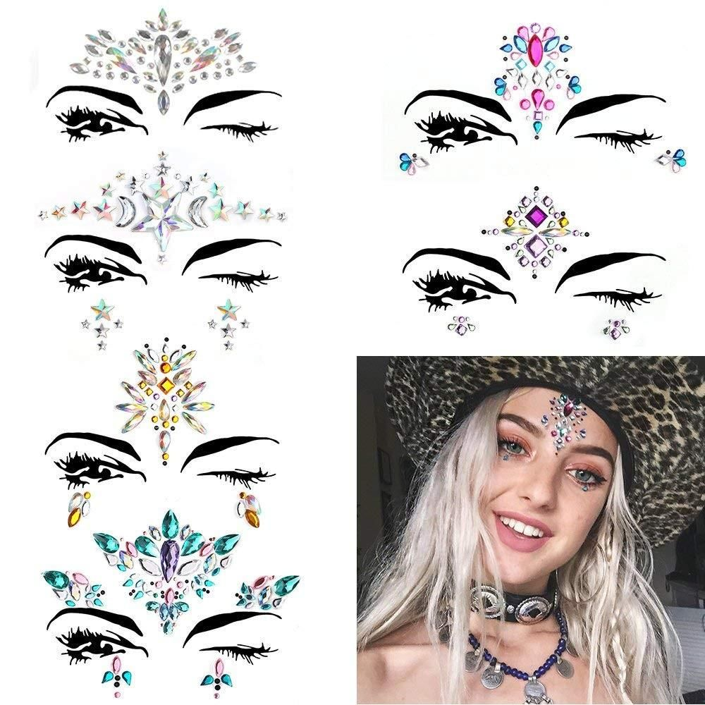 607c6c0caeb 6 Sets Women Mermaid Face Gems Glitter,Rhinestone Rave Festival Face ...