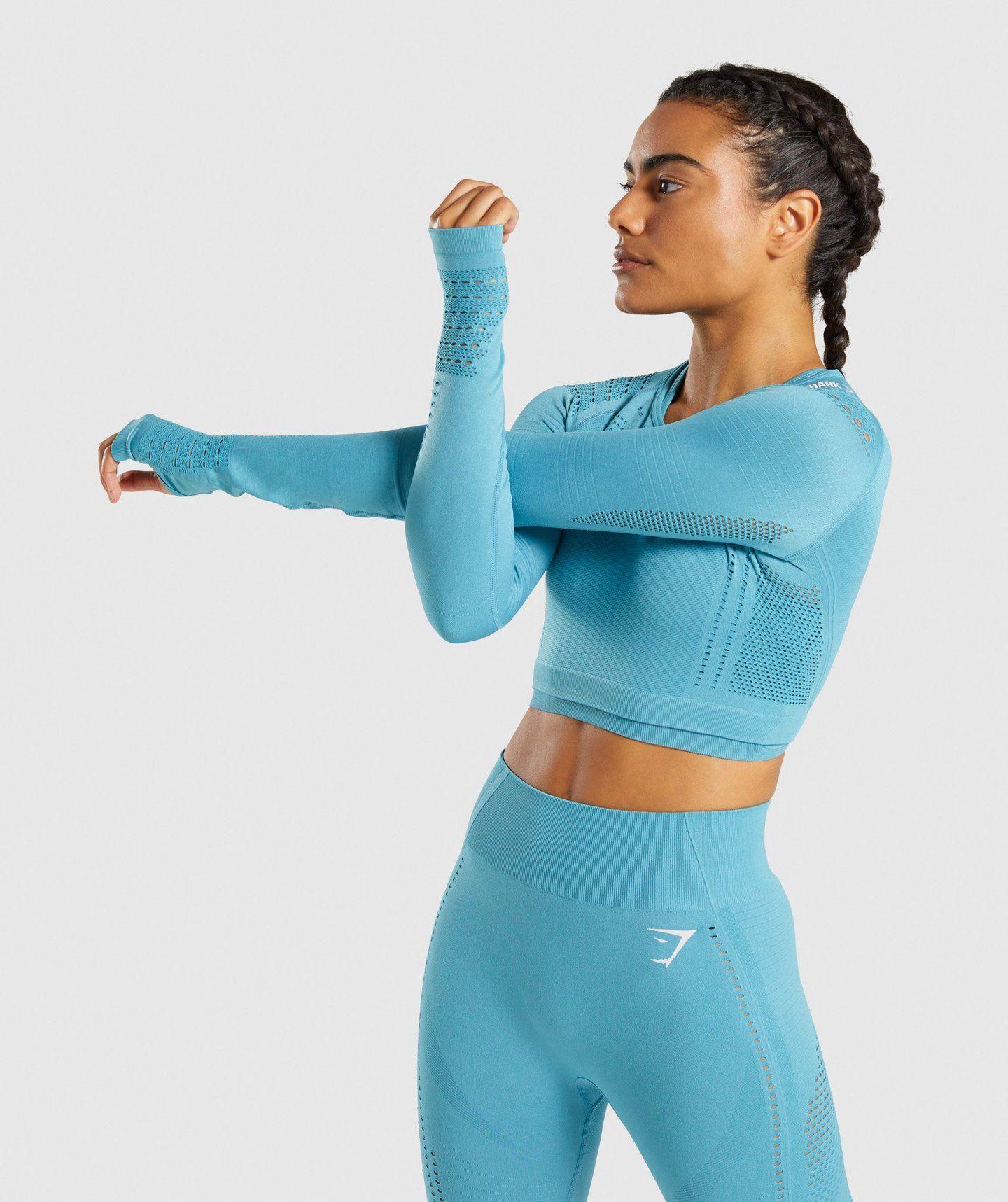 7b830c2de22 Gymshark Flawless Knit Long Sleeve Crop Top - Sea Blue in 2019 ...
