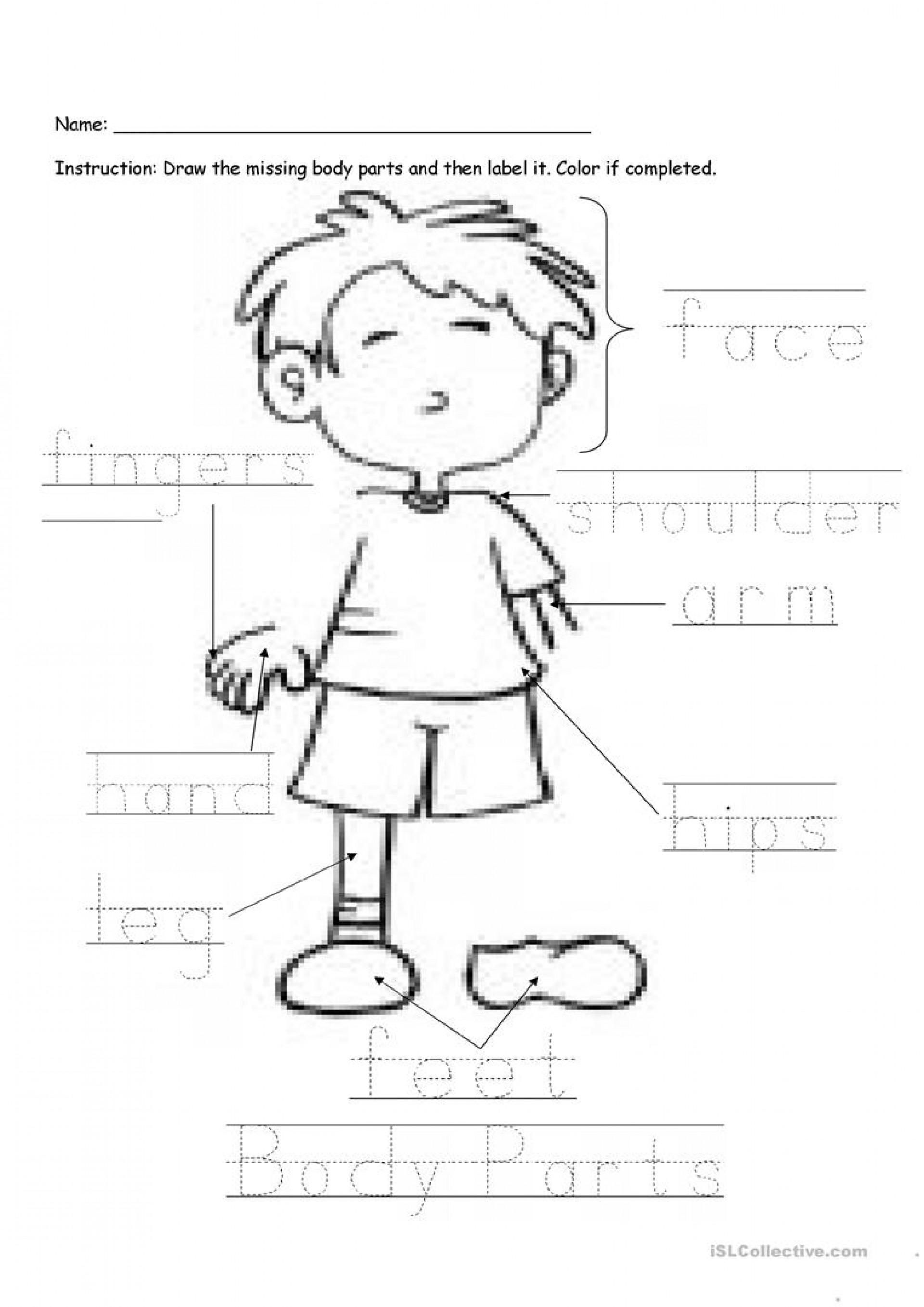 Printable Worksheets Parts Body Kindergarten En