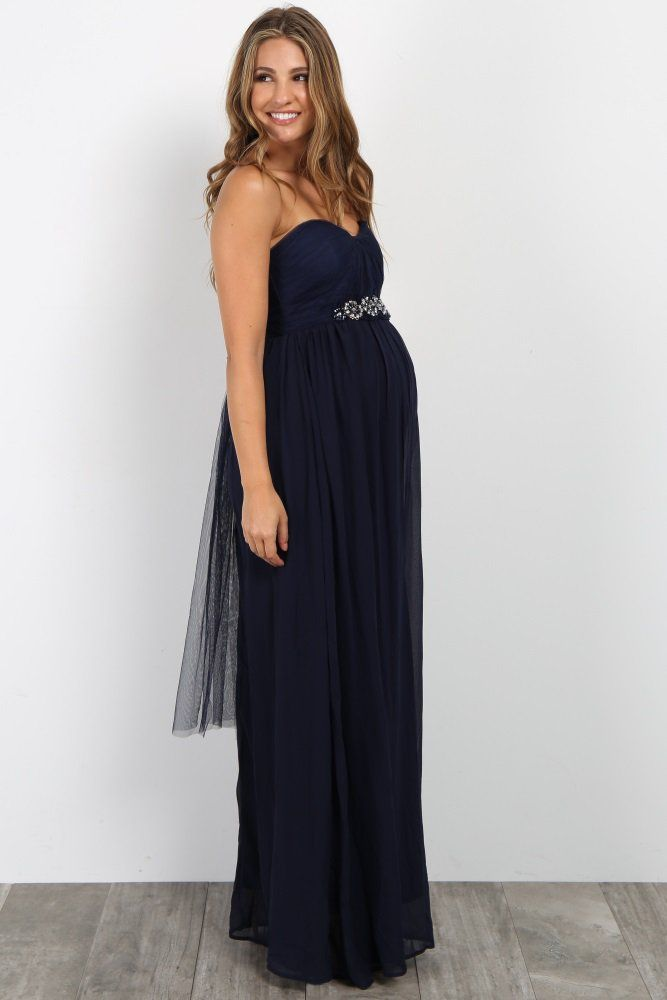576129f9300e3 Navy Blue Rhinestone Accent Strapless Maternity Gown Maternity Gowns, Maternity  Style, Maternity Fashion,