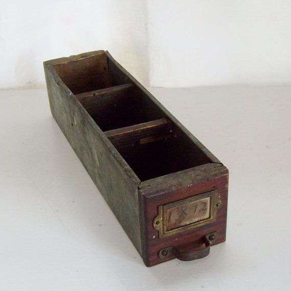 SOLD Vintage industrial drawer divided wood and metal box by trendybindi, $20.00 #home decor #storage