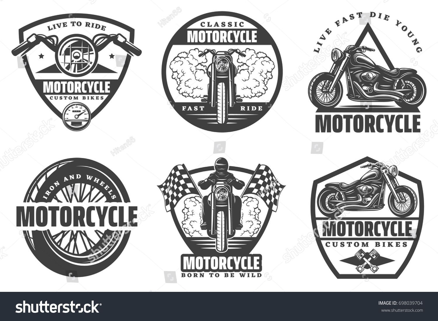 Set Of Motorcycle Monochrome Emblems Labels Logos And Motorbike Badges With Descriptions Of Custom Bikes Motorbike Logo Custom Bikes Cafe Racers Custom Bikes
