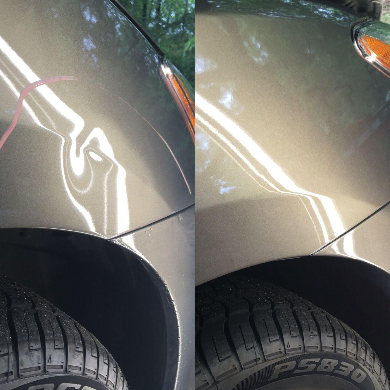 Paintless Dent Repair on a Nissan Sentra rental car turn