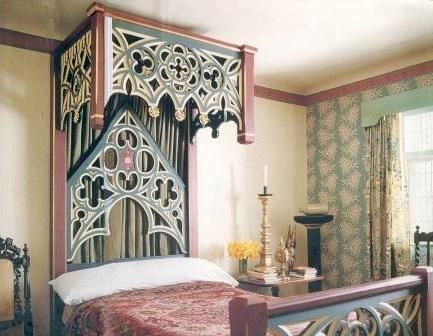 Painted Stencilled Gilded Reformed Gothic Revival Bed And Bedroom Furniture Gothic Furniture Fancy Houses Bedroom Furniture