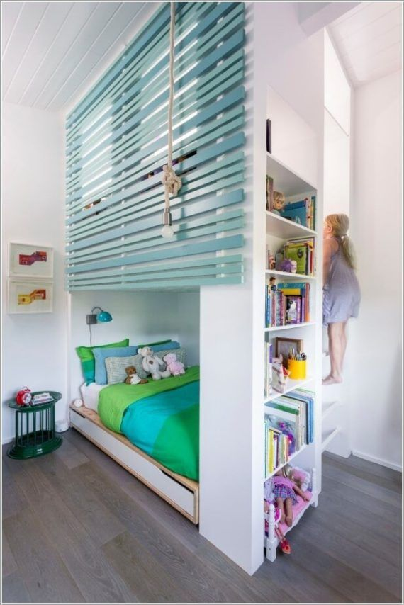Built In Loft Bed With Side Storage Shelves Space Saving Kids Room Furniture Design And Layout Kinderzimmer Mobel Coole Betten Platzsparende Mobel