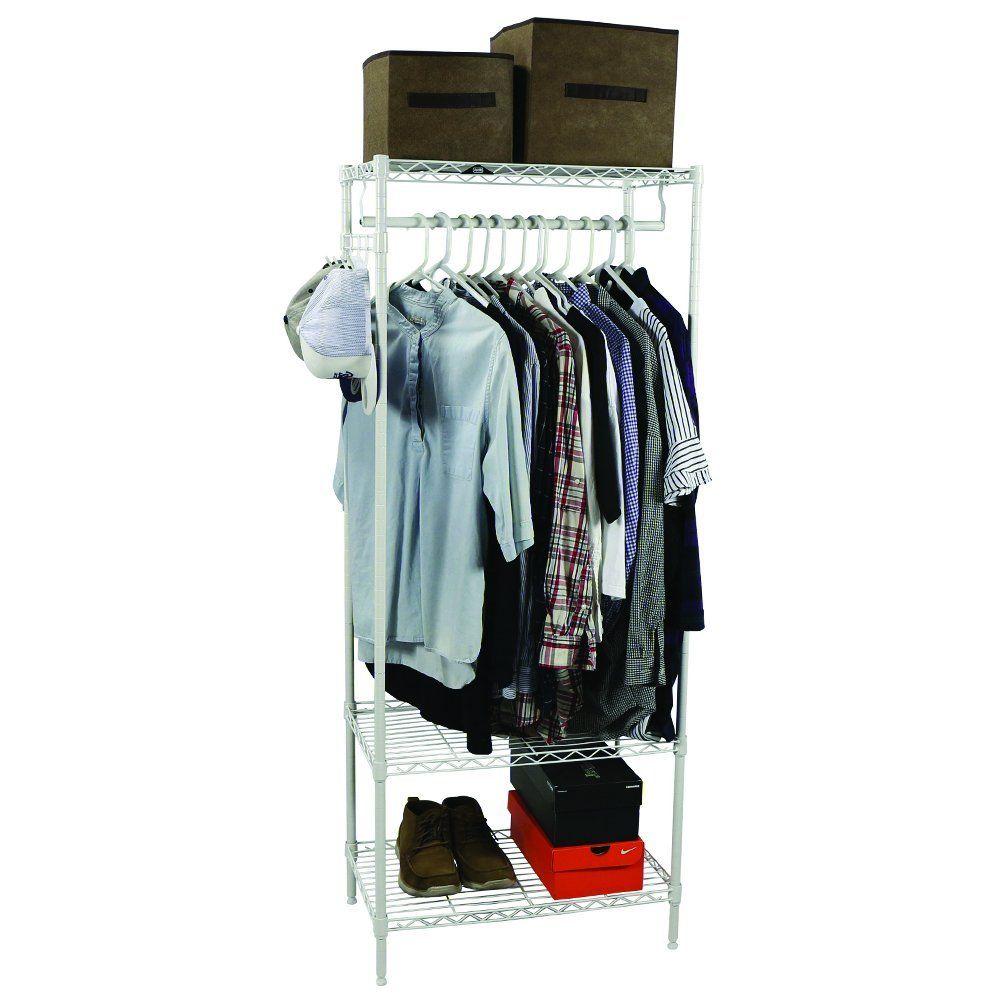 Amazon.com: Apollo Hardware 3-Shelf Wire Shelving Garment Rack 14 ...