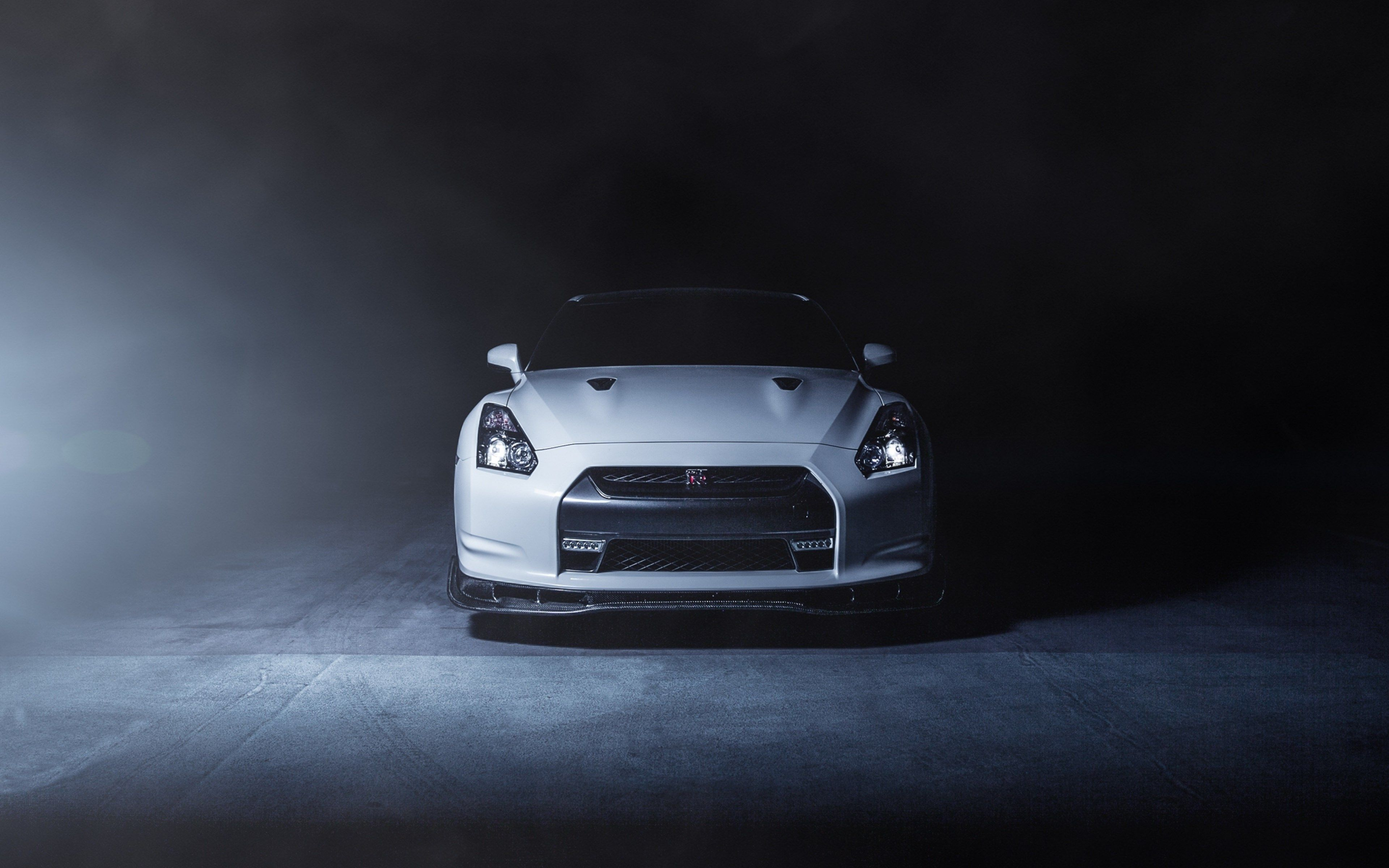 Nissan Gt R R35 White Front Smoke Wallpapers