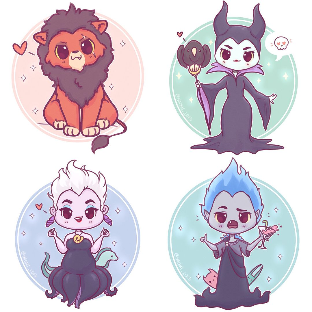 Chibi Disney Villains! ✨✨ All of these lil guys are now available on my Etsy as stickers and prints! (Link in bio ) Should draw some… #disneyvillains