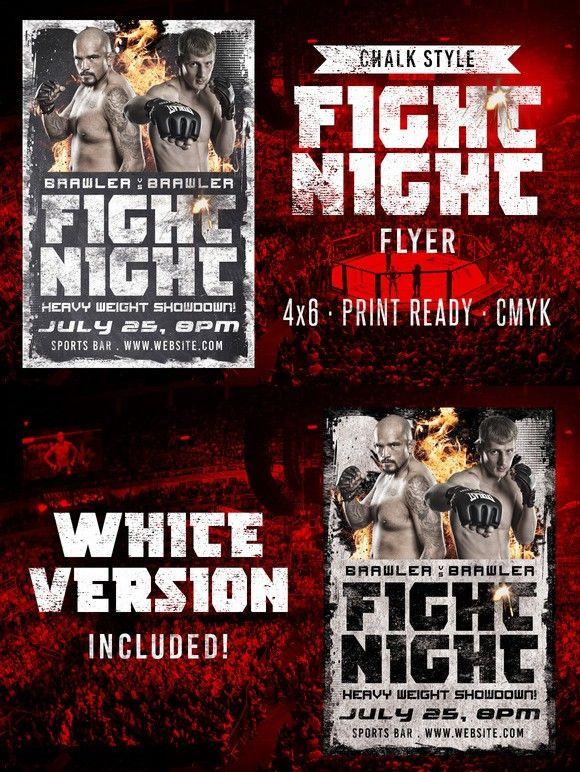 Chalk Fight Night Flyer Flyer Templates $800 Flyer Templates - movie night flyer template