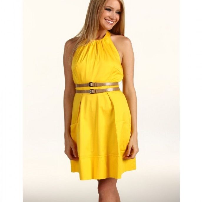 White Chiffon Front Silt Casual Style Backless Halter Top: Jessica Simpson Yellow Halter Dress