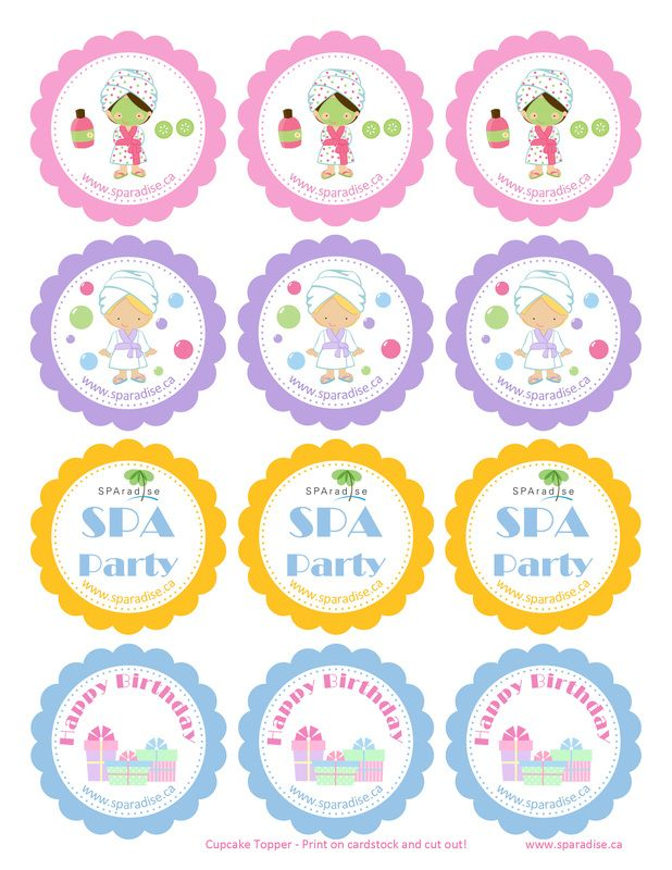 Free Printable Spa Party Cupcake Toppers By SPAradise Mobile
