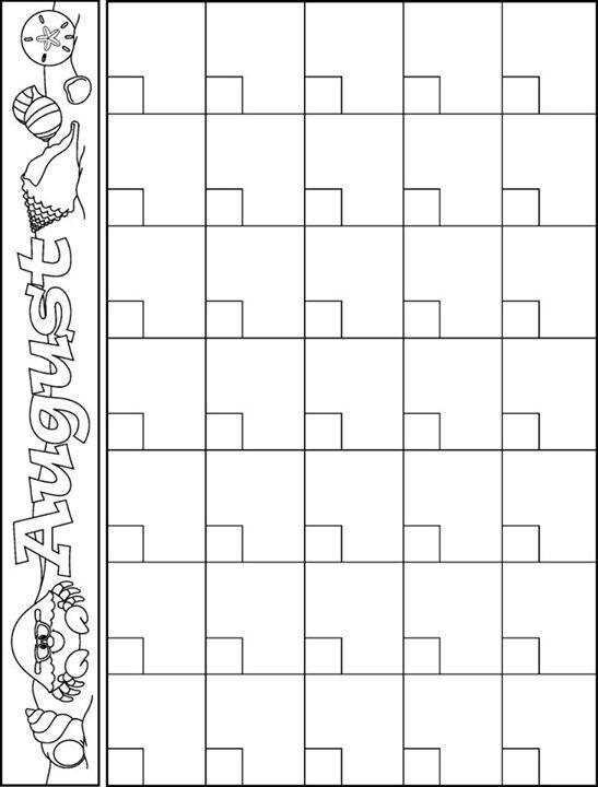 August Calendar Template  Teacher Ideas    August