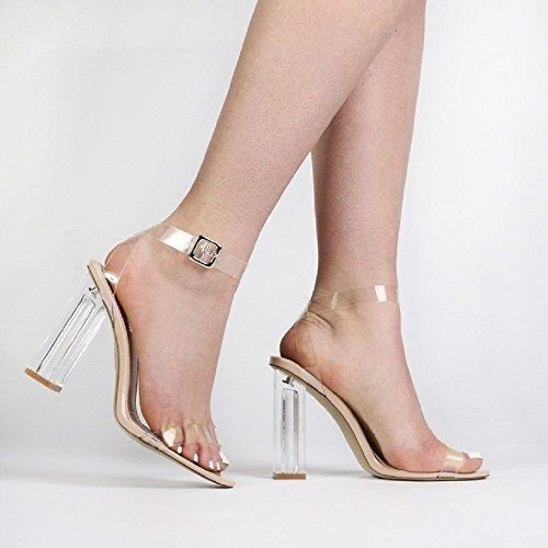 e0877aae7b4 Cape Robbin Maria-2 Nude Transparent Lucite Clear Strappy High heel Open  Sandals