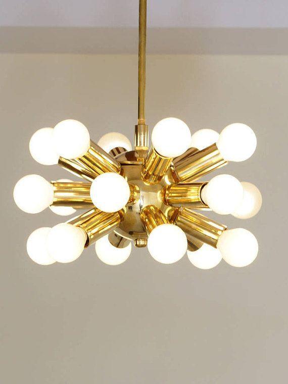 Gorgeous Mid Century Modernist Inspired Brass Sputnik Chandelier Ceiling Light Lamp 18 Bulb 10 Diam Handcrafted In Our Work Striking Vintage I