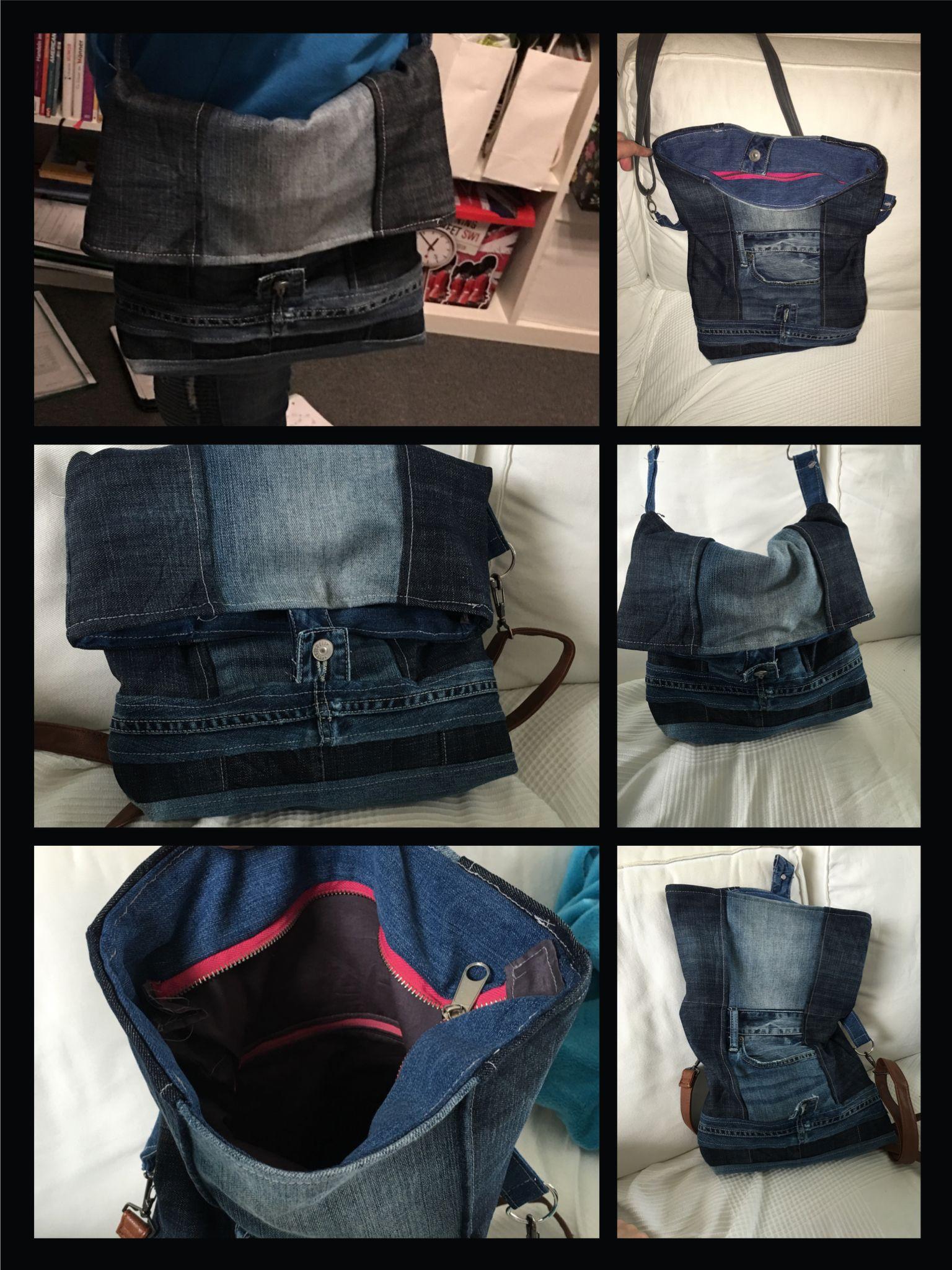 """Upcycling Jeans ❤️ Meine neue Tasche. ❤️ Nach dem EBook """"Kuriertasche Little lilou"""""""