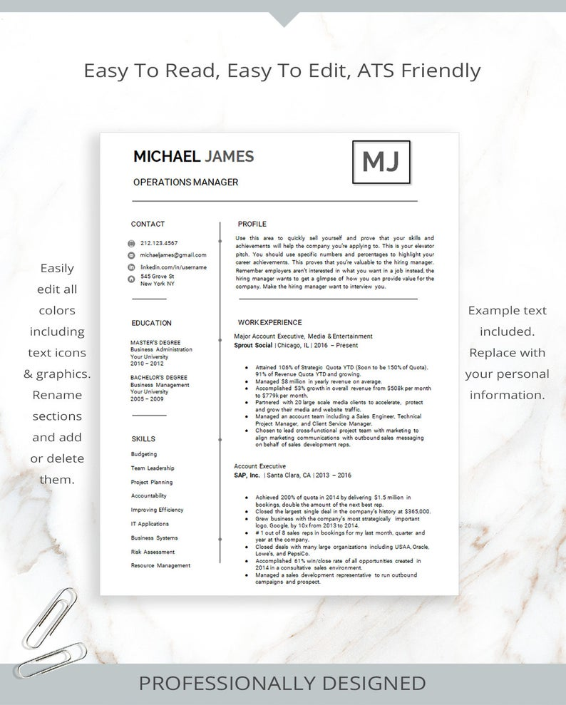 Modern Resume Template and Cover Letter For Microsoft Word