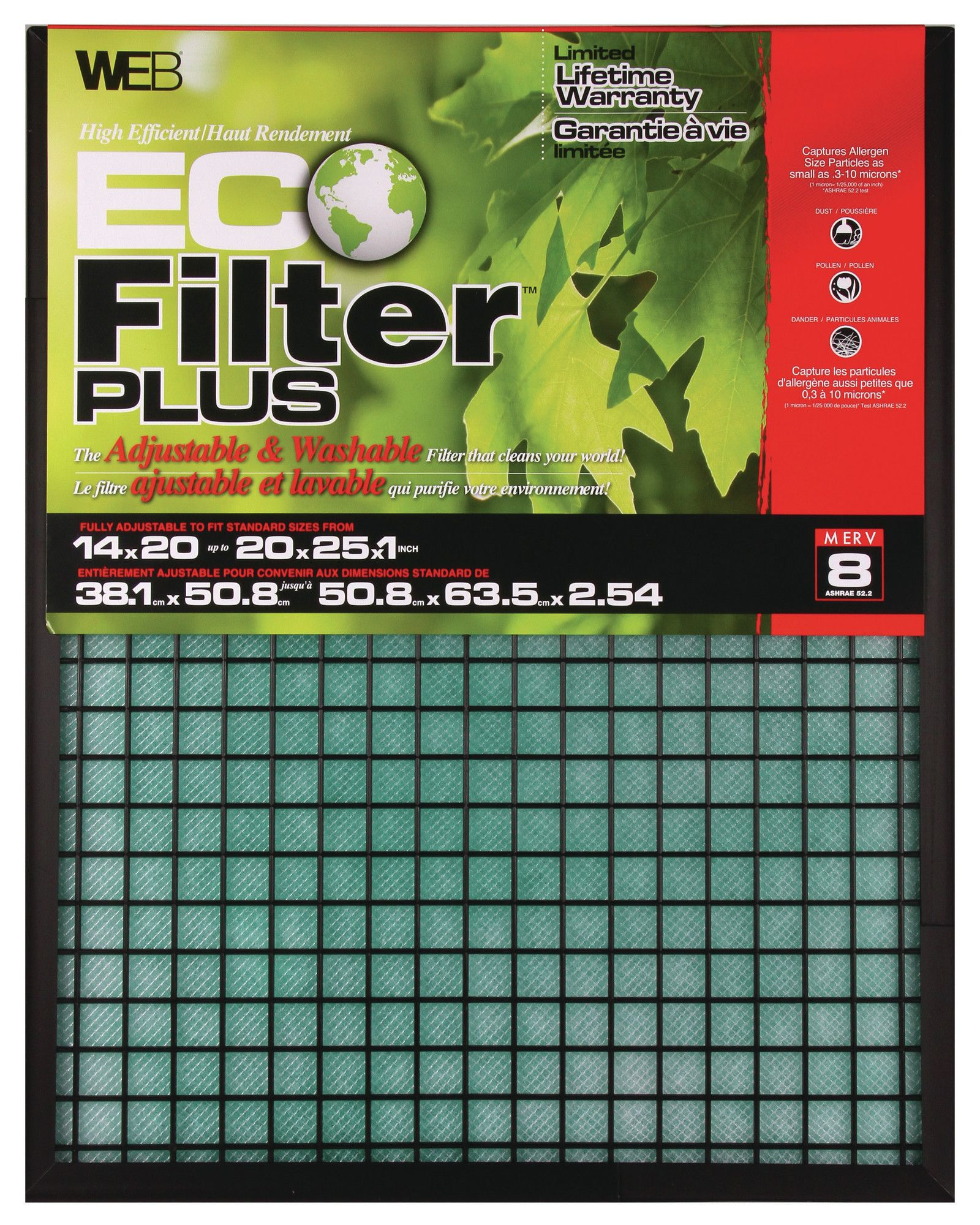 Eco Plus Permanent Electrostatic Adjustable Air Filter