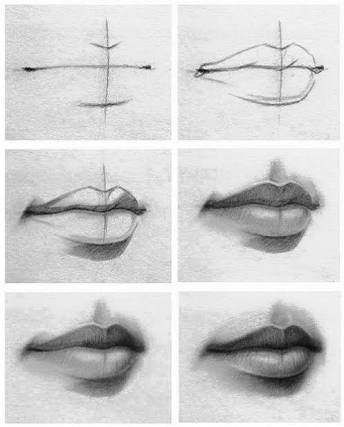 Smiley Lippenzeichnungen, gemessene Lippenzeichnungen, Bleistiftzeichnung Lippen...