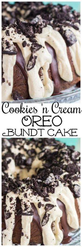 This Cookies 'n Cream Oreo Bundt Cake recipe features a milk chocolate bundt cake stuffed with Oreo cookies, and topped with chocolate ganache and cookies 'n cream pudding frosting! It's as easy as can be! #cookiesandcreamfrosting